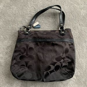 COACH POPPY SATEEN SIGNATURE GLAM TOTE
